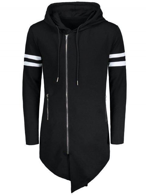 Varsity Streifen Zip Up Lang Asymmetrischer Hoodie - Schwarz 2XL Mobile