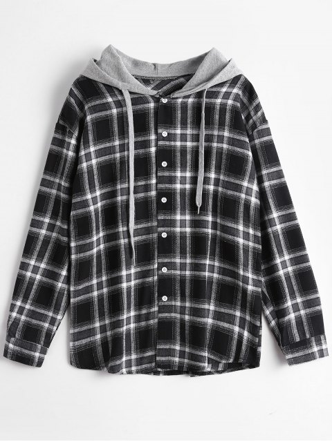 shops Button Up Checked Drawstring Hoodie - CHECKED ONE SIZE Mobile