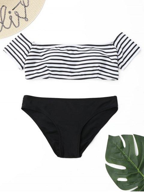 Ensemble De Bikini à Rayure Et à Épaules Dénudées - Blanc et Noir S Mobile