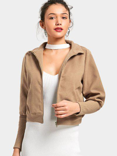 Zip Up Pockets Jacket - Camel S