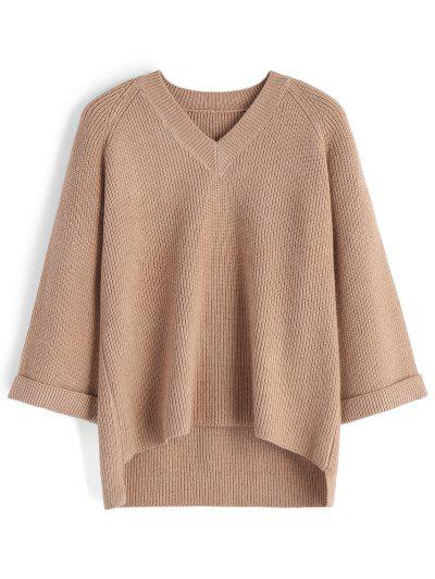 Curled Sleeve V Neck High Low Sweater - Khaki