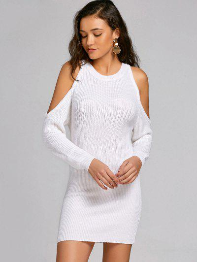 Cold Shoulder Bodycon Sweater Dress - White M