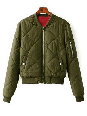 Zip Up Padded Bomber Jacket - Army Green S