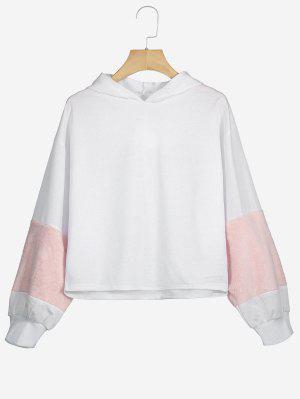 Faux Fur Embellished Puff Sleeve Hoodie - White M