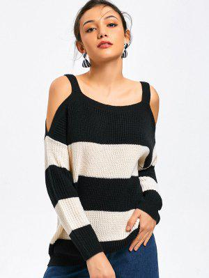 Cold Shoulder Color Block Sweater - White And Black M