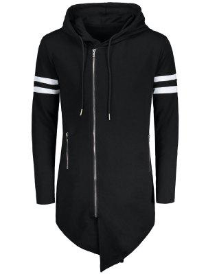 Varsity Stripe Zip Up sudadera asimétrica larga