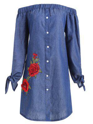 Plus Size Floral Applique Chambray Off Shoulder Dress