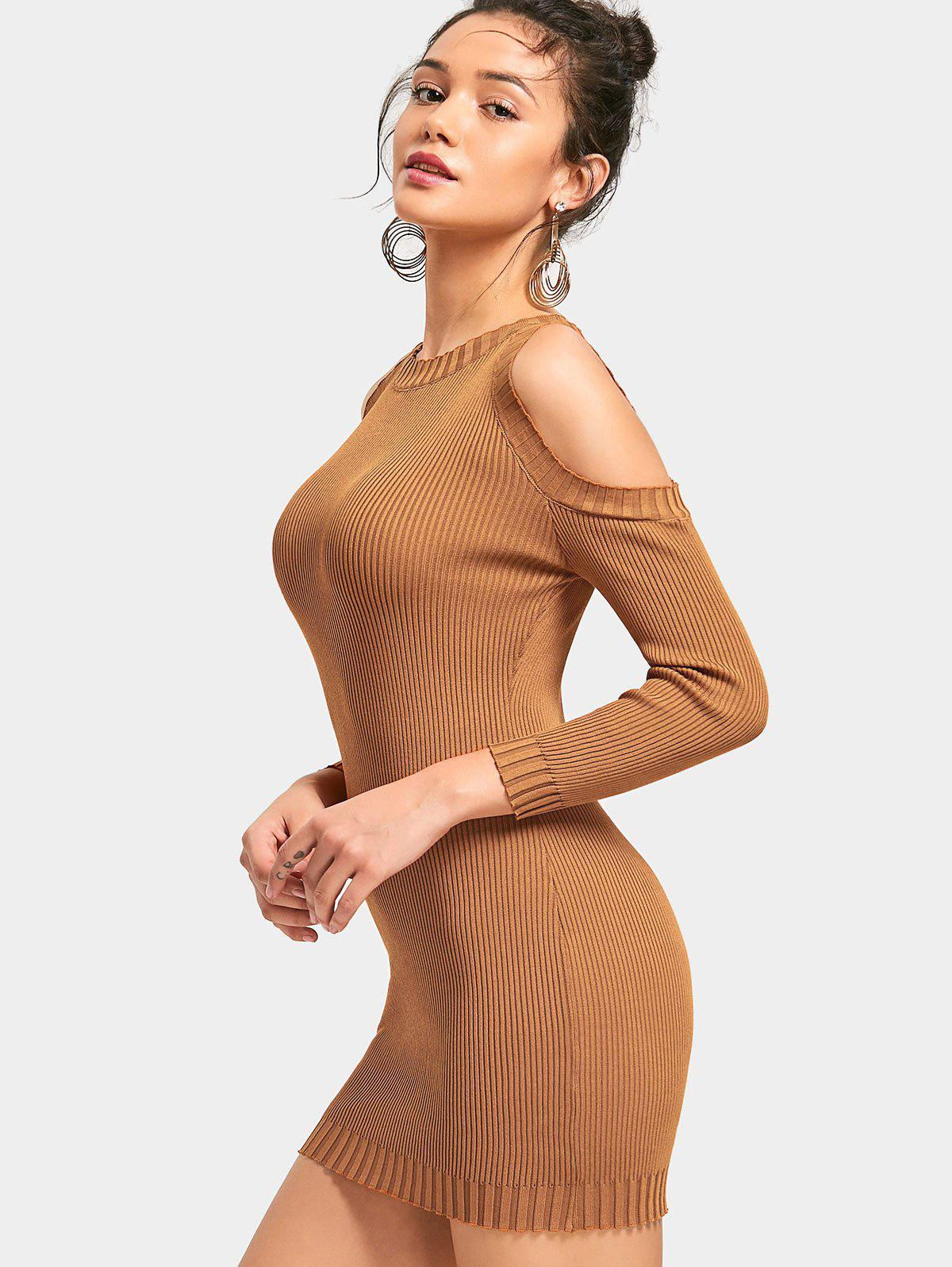 Cold Shoulder Ribbed Mini Knitted Dress 228694401