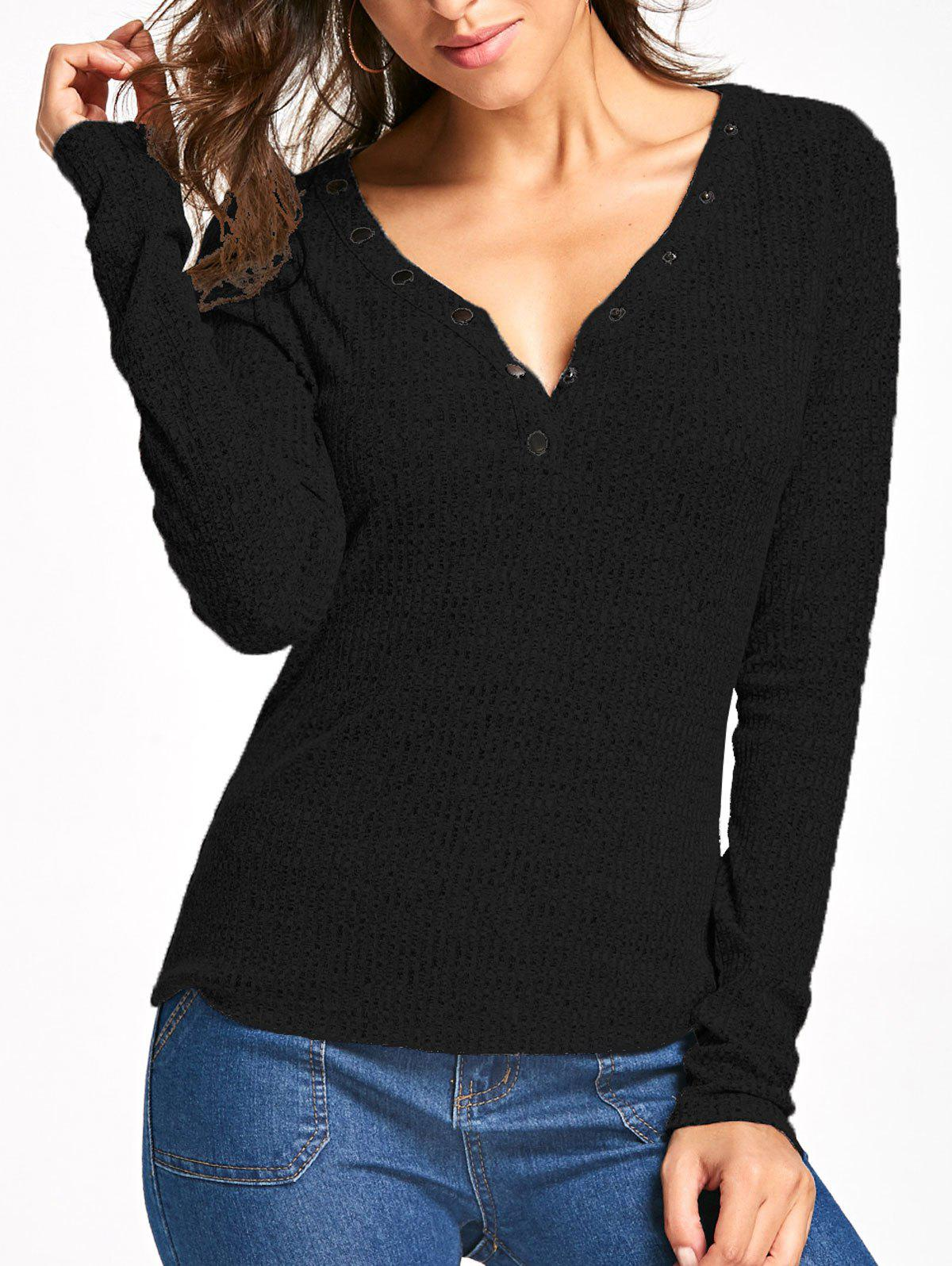 Button V Neck Long Sleeve Ribbed Top 222819612