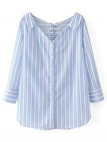 Camisa A Rayas De Gran Tamaño Con Cordones - Azul Y Blanco M