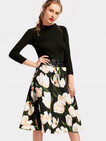 فستان مربوط طباعة الأزهار بخط A - الأزهار L