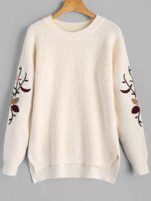 Suéter Feminino Com Bordado E Barra Com Fenda - Branco