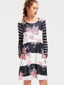 Robe Découpée à Rayures à Rayures - Floral M