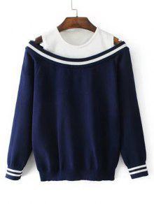 Suéter De Dos Tonos De Hombro Frío - Azul Purpúreo