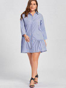 7dd0fd37232 64% OFF  2019 Plus Size Stripe Button Up Drop Waist Dress In BLUE ...