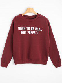 Camiseta De La Letra Del Hombro De La Gota Del Cuello - Rojo Oscuro M