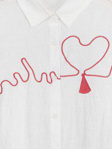 El M Bordados Blanco En Botones Con Coraz Camisa 243;n OwgqIZnn