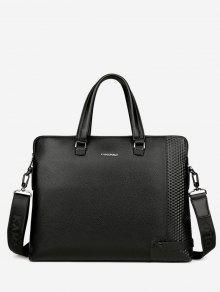 حقيبة يد مع حزام مزينة بكتابة معدنية - أسود