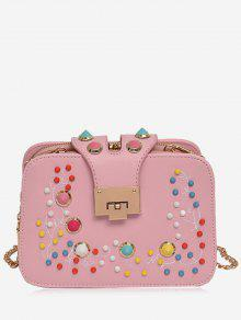 Remache Multi Colores Crossbody Bolsa - Rosa