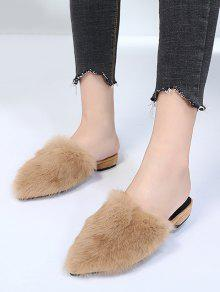 best for sale Faux Fur Low Heel Pointed Toe Slippers - Black 38 genuine for sale qghvTH