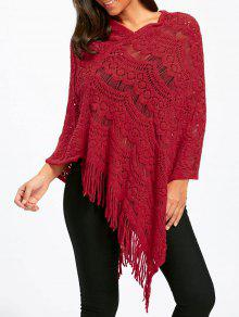 Asymmetric Fringed Chunky Cape Sweater - Rojo