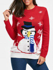 Suéter De Navidad Jacquard Snowman - Rojo