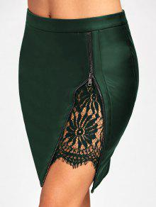 Lace Insert Fitted Leather Skirt - Verde Escuro M