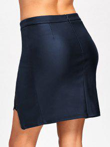 lace insert fitted faux leather skirt cadetblue skirts