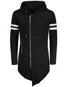 Varsity Negro Larga Up Sudadera Zip Stripe Xl Asim 233;trica OqBrOwP
