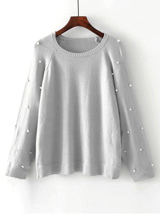 Übergröße Pullover mit Raglan Ärmel und Faux Perlen - Grau L
