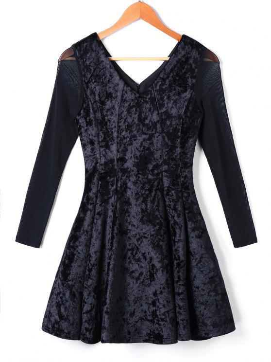 fashion Long Sleeve Velvet Skater Dress - BLACK M