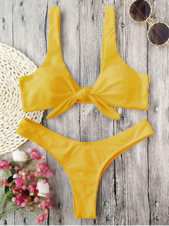 affordable Padded Knotted Thong Bikini - MUSTARD XL