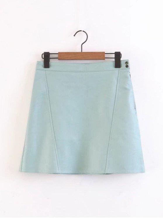 Side Zip Faux Leather A Line Mini Skirt - Bleu clair XS