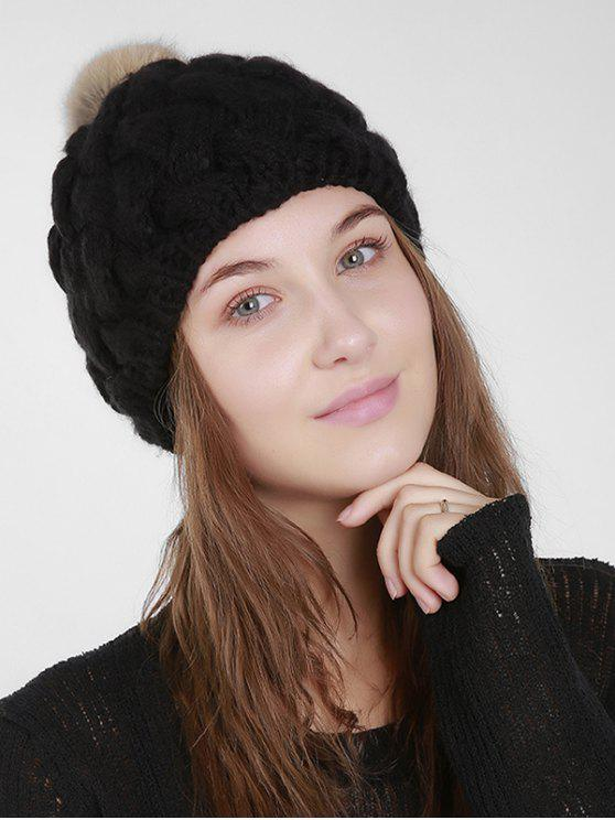 Faux Fur Plain Weaving Knit Hat - Black