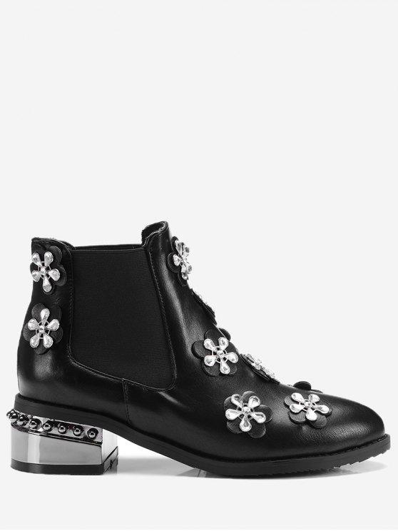 Stivali A Caviglia Con Fascia Elastica E Diamante Artificiale - Nero 36