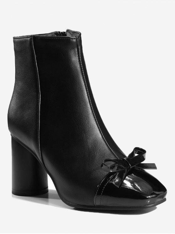 Bowknot Chunky Heel Ankle Boots - Preto 36