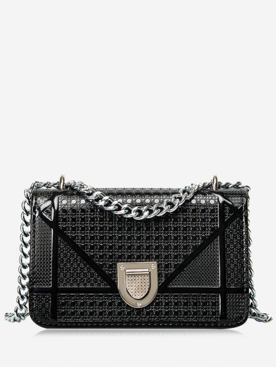 outfits Geometric Quilted Chain Crossbody Bag - BLACK