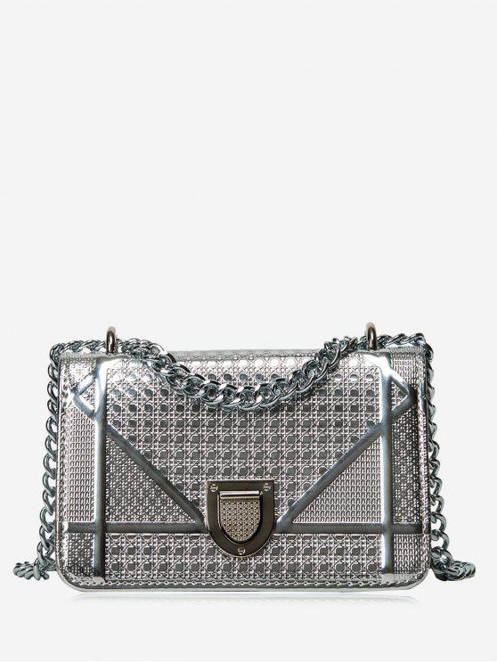 shops Geometric Quilted Chain Crossbody Bag - SILVER