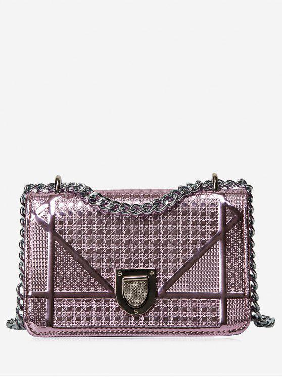حقيبة كروسبودي مبطنة مع سلسلة مزينة بأشكال هندسية - زهري