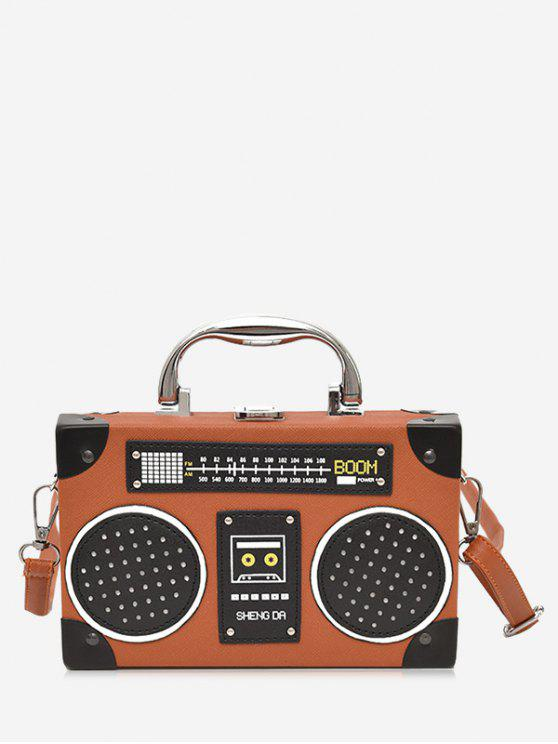 fancy Faux Leather Radio Shaped Crossbody Bag - BROWN