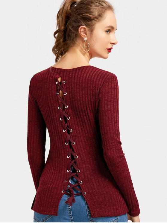 best Back Lace Up Side Slit Knitted Top - DEEP RED XL