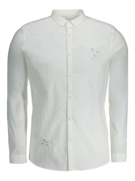 ladies Mens Embroidered Button Up Shirt - WHITE XL