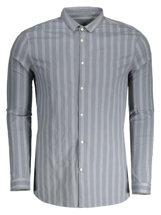 Camisa de listra para homens com botão para cima - Cinza 3XL
