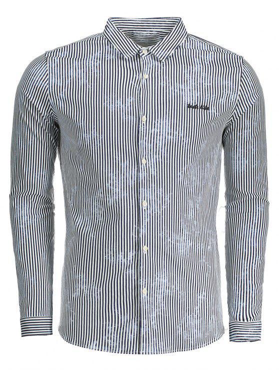 Camisa de tela a rayas para hombre - Azul XL