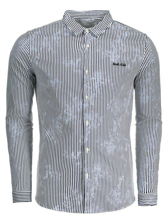Chemise Homme à Rayures - Bleu XL