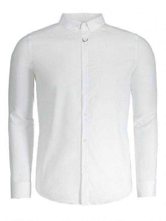affordable Button Down Mens Formal Shirt - WHITE 2XL