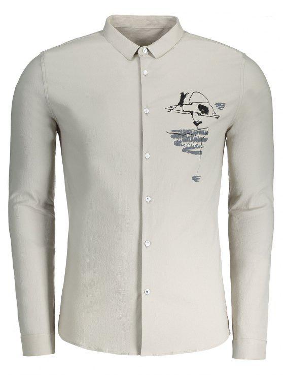 Camisa casual para hombre impresa - CaquiClaro 3XL