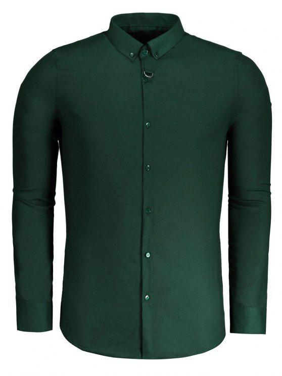Camisa formal para hombre con botones - Verde 2XL