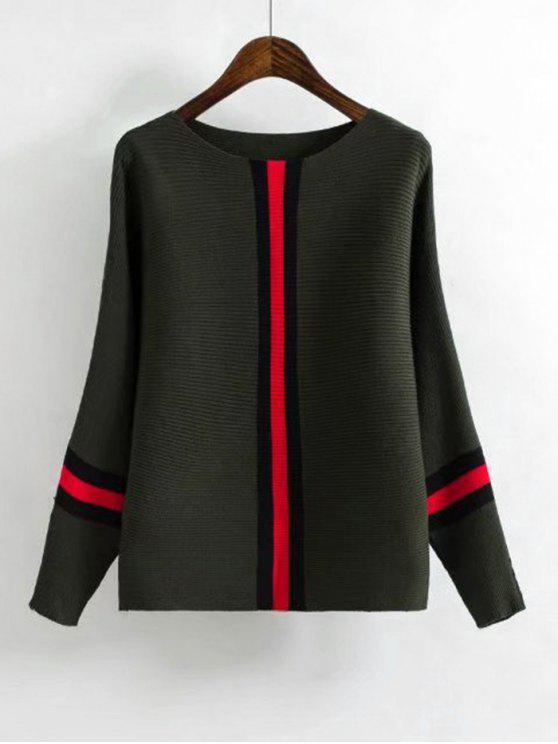Suéter com Manga Morcego com Listrado em Contraste - Exército verde Tamanho único