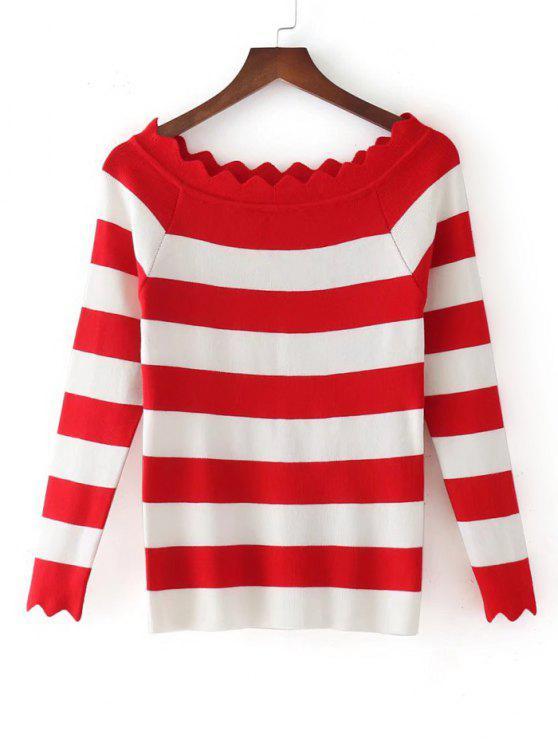 Stripes Scalloped fuera de los géneros de punto de hombro - Rojo Única Talla